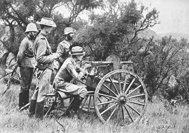 British soldiers man a Model 1895 Colt machine gun at Krantz Kloof during the Boer War, circa 1900. This particular gun is mounted on a horse-drawn carriage rather than a tripod.