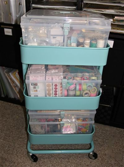 Raskog kitchen cart from IKEA and Close to My Heart Organizers fancymelissa.ctmh.com #ctmh #craft #organization #scrapbook
