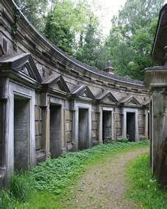 Highgate cemetery in London.  I lived in Highgate for a time and I used to visit HC often.