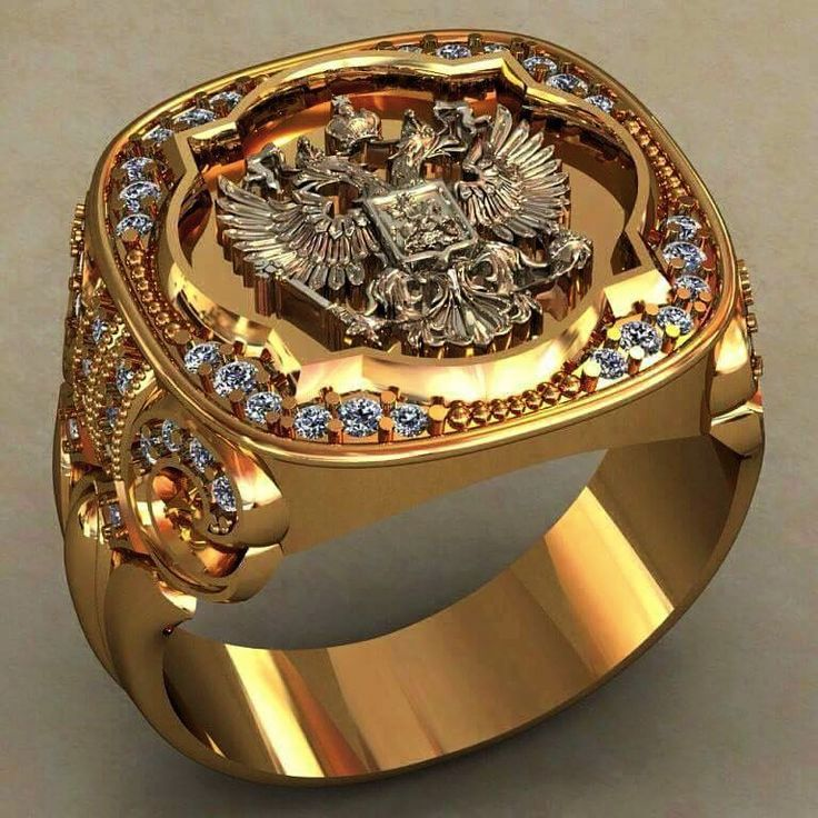 Men S Solid 18k Russian Double Headed Eagle And White Diamonds Ring Masculine Alpha