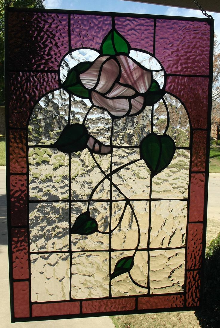 Beach theme decoration stained glass window panels arts crafts - Victorian Rose Stained Glass Window Panel