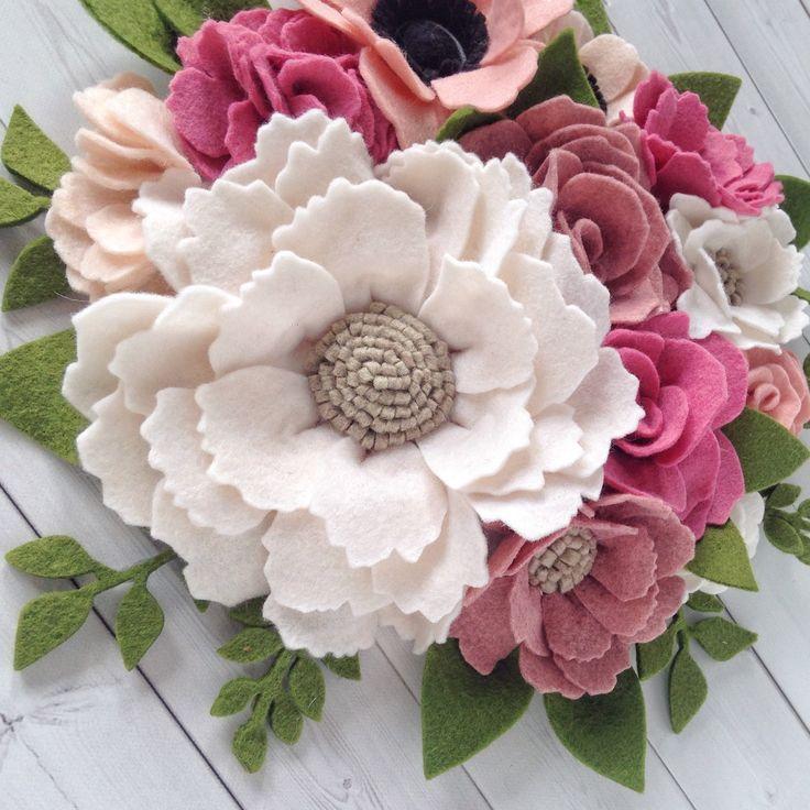 Felt flowers - floral nursery decor - nursery decor - girls nursery decor - nursery wall art - flower wall art - nursery ideas - girl nursery ideas