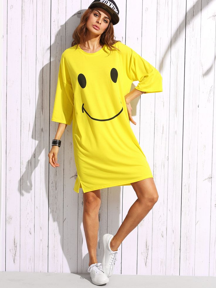 14$  Watch here - http://dipzg.justgood.pw/go.php?t=4277 - Yellow Smiley Face Print Drop Shoulder T-shirt Dress 14$