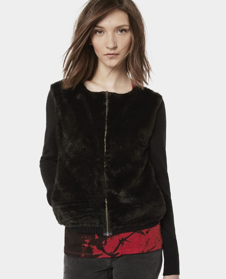 Zip cardigan with fur insert - Knitwear - Woman - The Kooples
