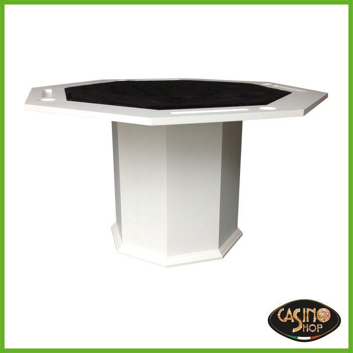 ART.0145 Tavolo da poker dalla forma ottagonale  Tavolo da poker in legno laccato bianco, panno in microfibra antimacchia.  Tavolo con 4 postazioni con vano portabibite e vano porta fiches in ogni postazione.