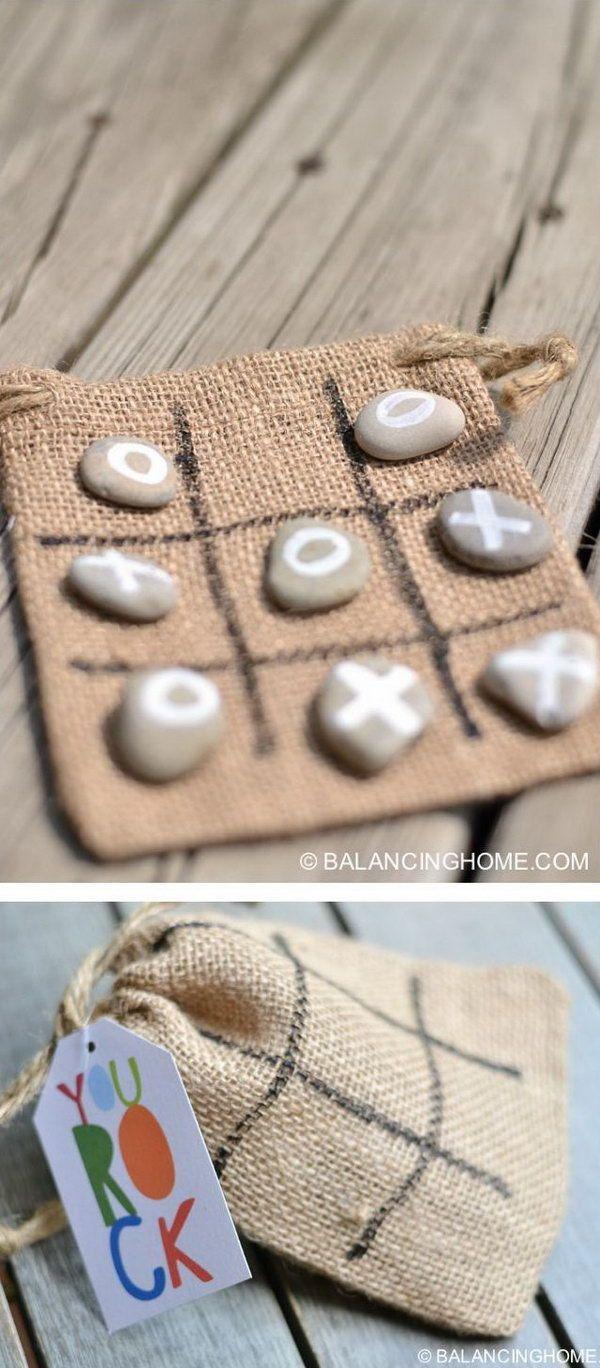 DIY Tic Tac Toe Rocks Bag Gift