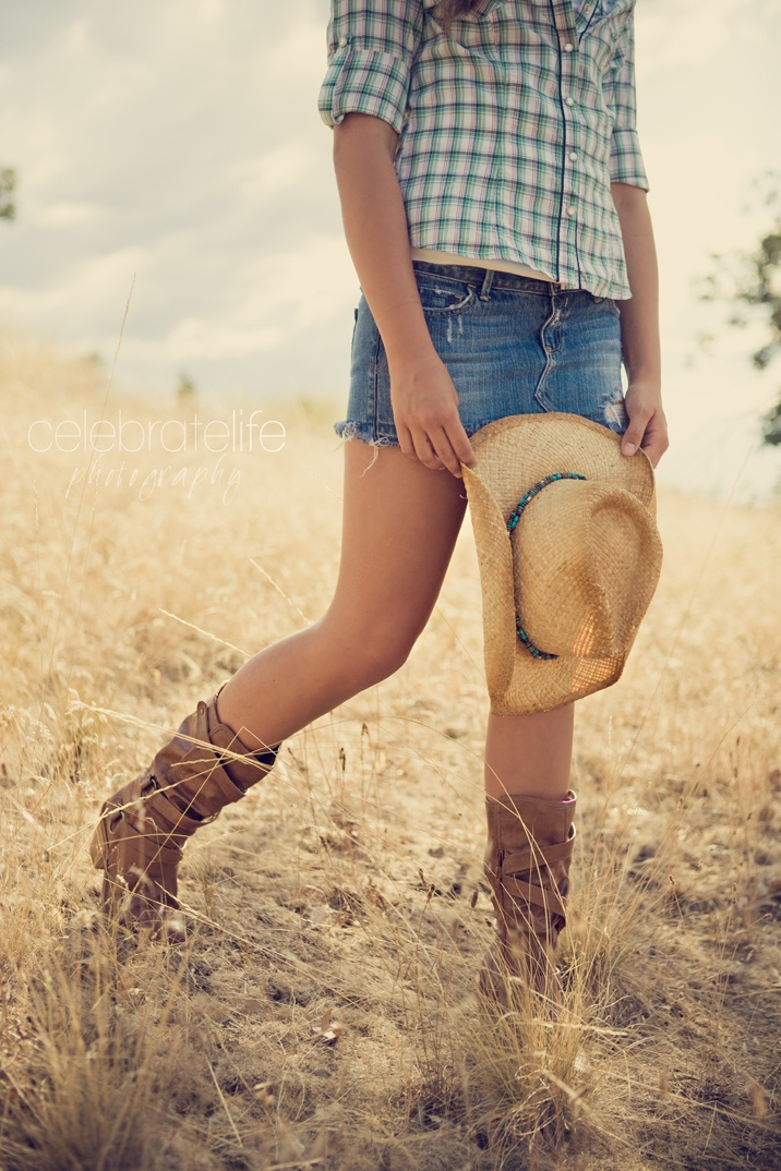 Plaid shirt, denim mini skirt, cowgirl boots & hat. Country girl