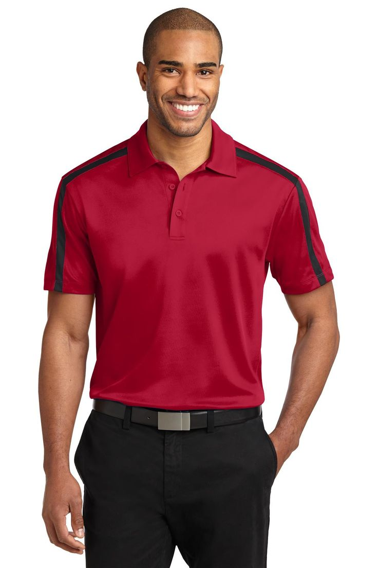 Port Authority Silk Touch™ Performance Colorblock Stripe Polo. K547 Red/ Black