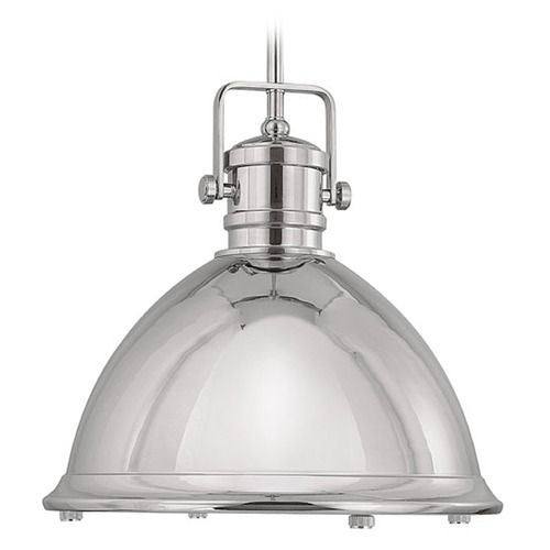 Capital Lighting Polished Nickel Pendant Light with Bowl / Dome Shade | 4433PN | Destination Lighting