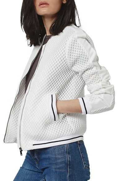 Free shipping and returns on Topshop Diamond Airtex Bomber Jacket at Nordstrom.com. Modern diamond-patterned mesh lends an airy texture to a structured bomber jacket trimmed with striped ribbing for a sporty look.