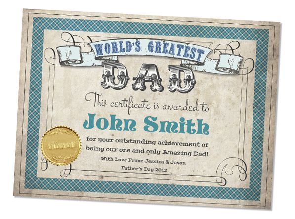 Fathers Day Worlds Greatest Dad Printable Certificate ...