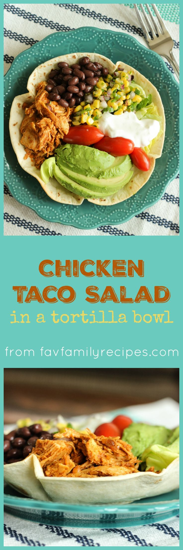 This Chicken Taco Salad in a Tortilla Bowl is easily the best taco salad I've ever had. The tortilla bowls are super easy to make and kids love them!
