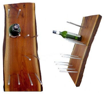 Look closely to spy the secret of this wine rack, concocted by a clever homeowner needing a design workaround