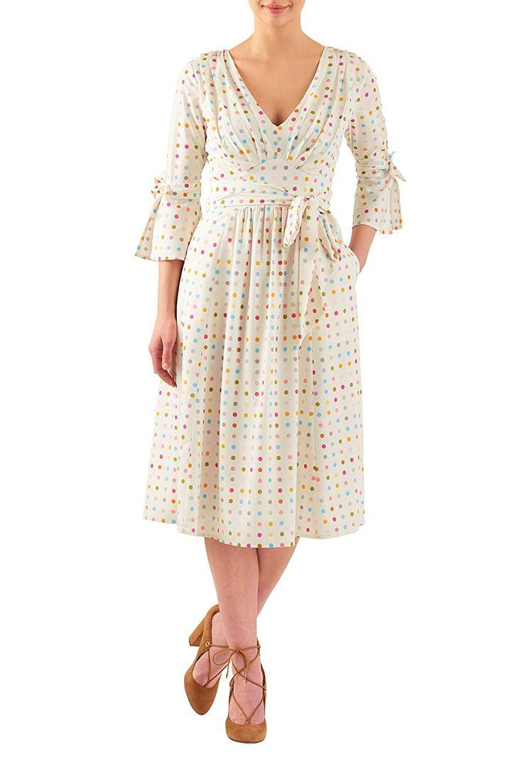 Плюс размер платья ретро eShakti женщин плиссированные горошек печать креп миди платье $ 64,95 AT vintagedancer.com