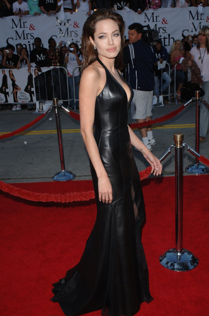 Angelina Jolie 2005 In The Long Leather Gown Closet Of