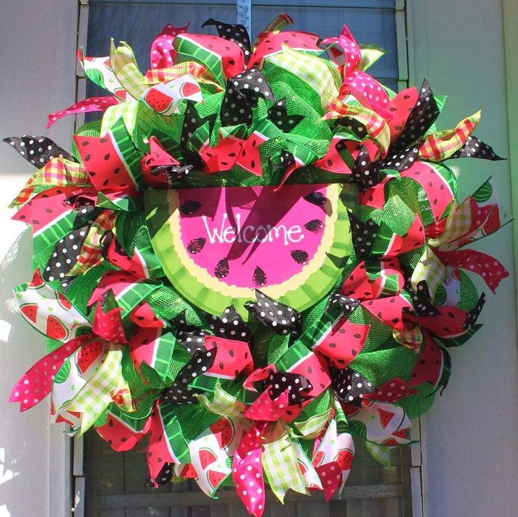 "DELICIOUS WATERMELON ""WELCOME' SUMMER DOOR WREATH~WATERMELON RIBBONS~DECO  #Handmade"