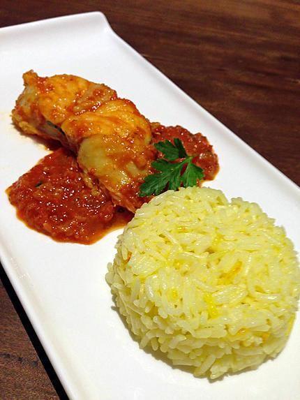 recette Lotte à l'Armoricaine et riz safrané