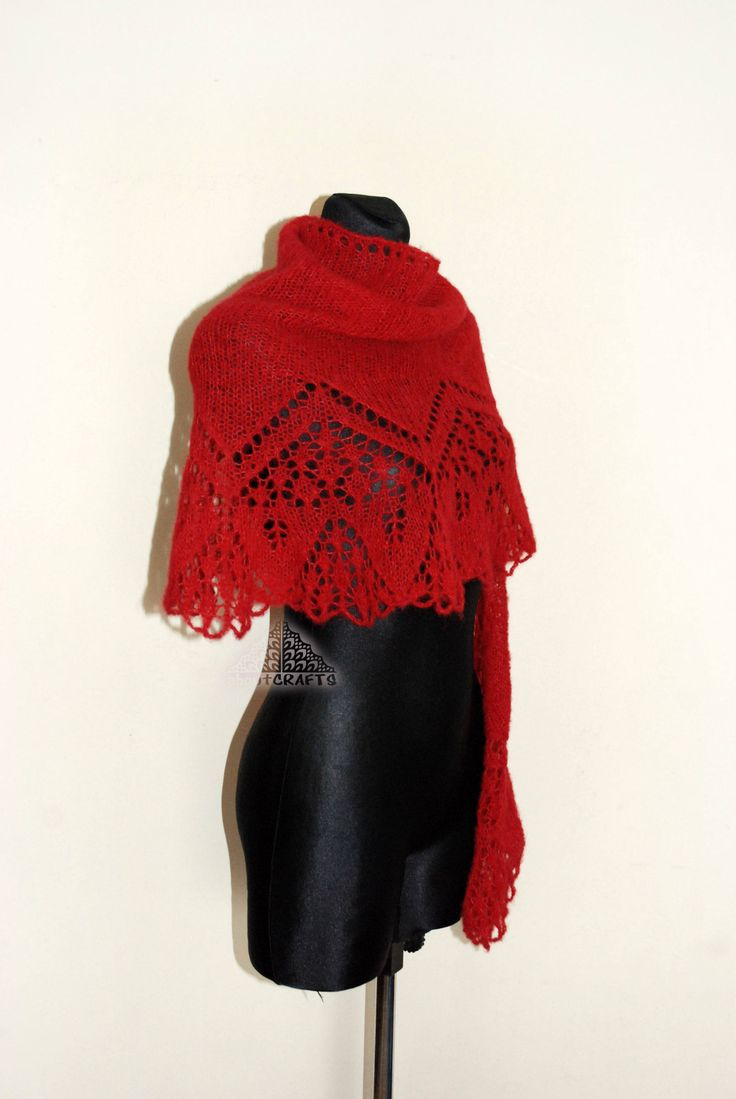 Red knitted shawl, Red knit scarf, Red, Lace shawl, Scarf, Evening stole, Christmas shawl, Wedding stole, Bridesmaid shawl, Gift for wife by aboutCRAFTS on Etsy