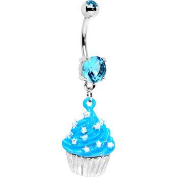 Blue Gem Starry Sprinkles Cupcake Belly Ring $12.99 #cupcake #bellyring #nomnom #piercing