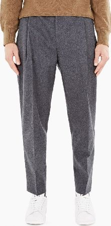 Acne Studios Grey Flannel Piano Trousers The Acne Studios Flannel Piano Trousers for AW16, seen here in grey melange. - - - Crafted from a premium wool blend, the Piano trousers from Acne are a tapered style with a pleated front, concealed p http://www.comparestoreprices.co.uk/january-2017-6/acne-studios-grey-flannel-piano-trousers.asp