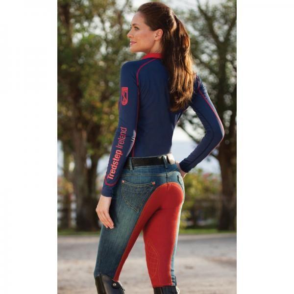 Denim femme - Pantalon Equitation avec fond de peau #TredStep
