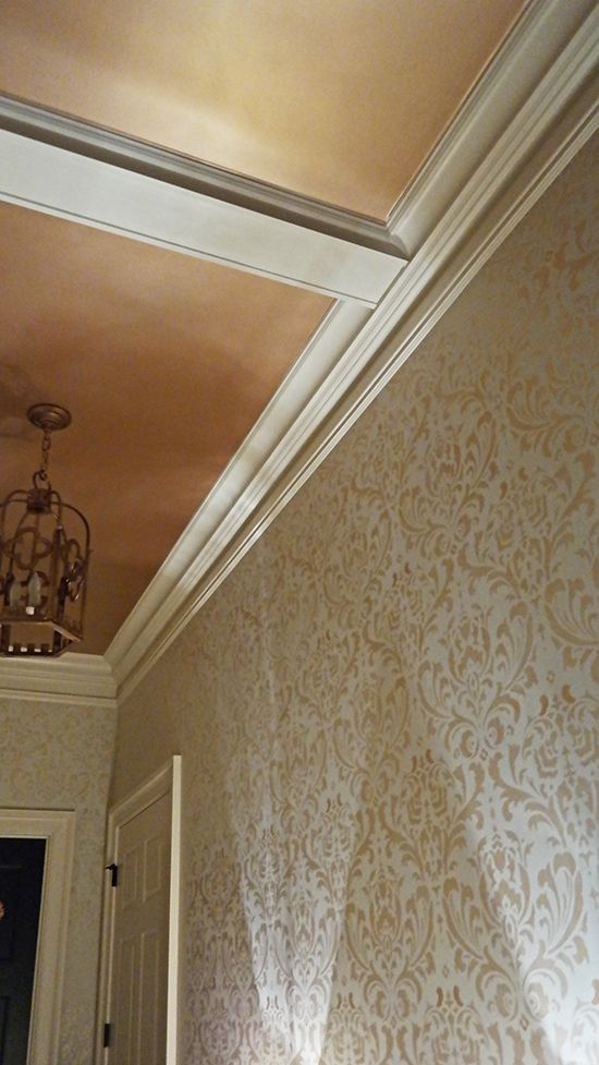Pale Gold Metallic Paint on Ceiling and Walls | Modern Masters Project by Sylvia T Designs