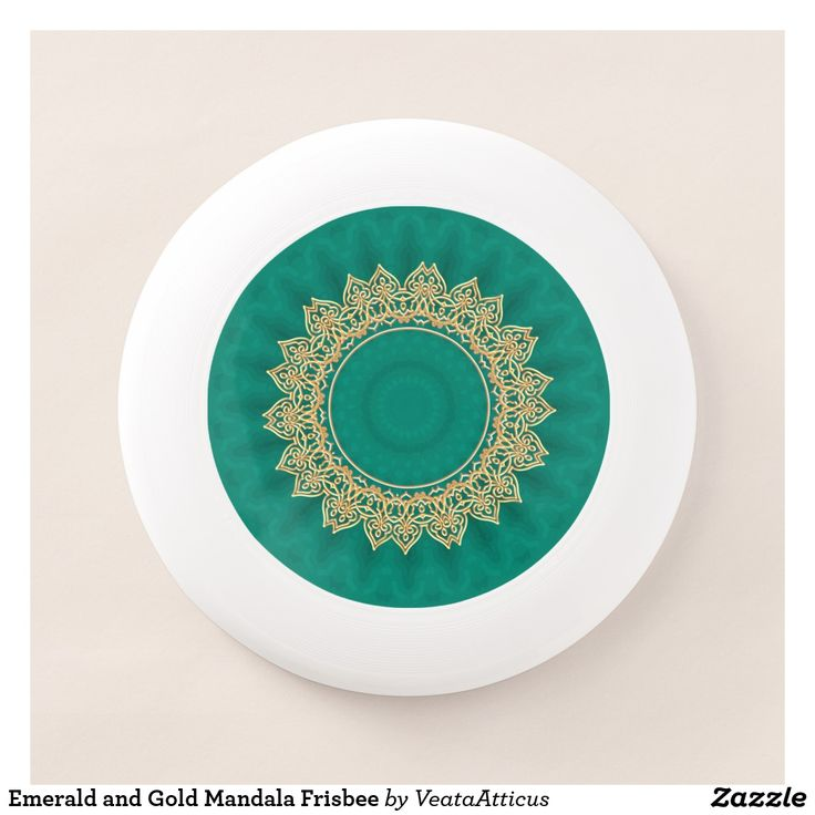 Veata Atticus Store Emerald and Gold Mandala Frisbee | sport, ultimate frisbee, games, outdoors, activities, play