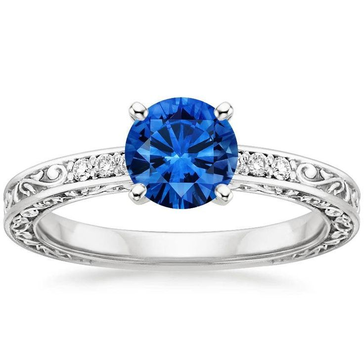 18K White Gold Sapphire Delicate Antique Scroll Diamond Ring from Brilliant Earth