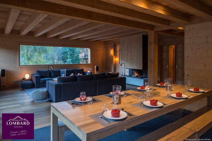 Pièce à vivre, salon, salle à manger, chalet Lombard Vasina. Une décoration bois épurée, un chalet contemporain meublé avec beaucoup de goût.