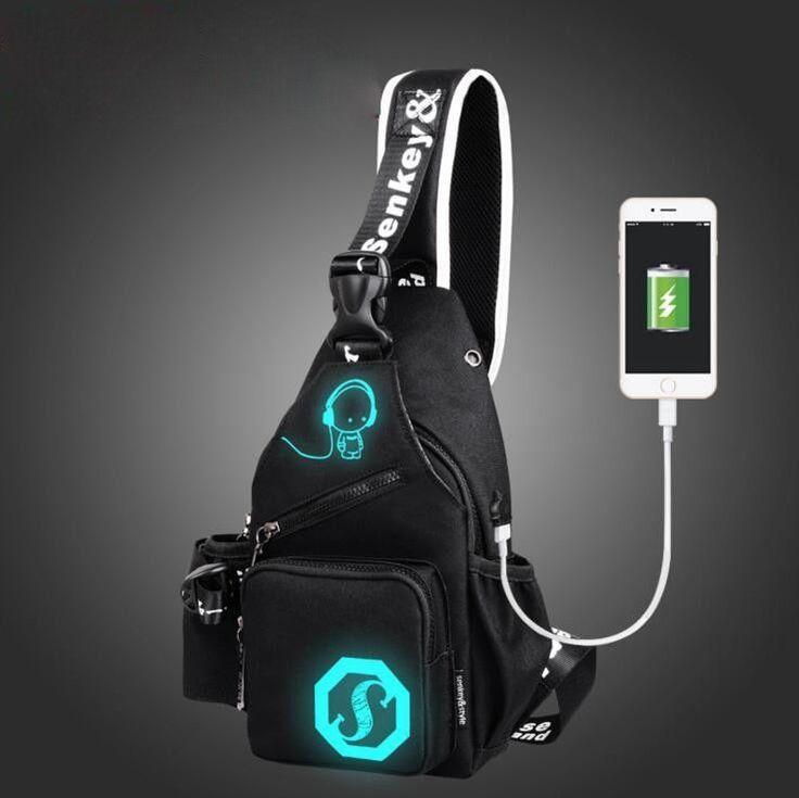 Unisex Shoulder USB Charge Backpacks Cross body Triangle Rucksack School Handbag