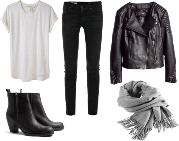 Leather by trenchcoatandcoffee showing how to wear a crew neck t shirt on Polyvore