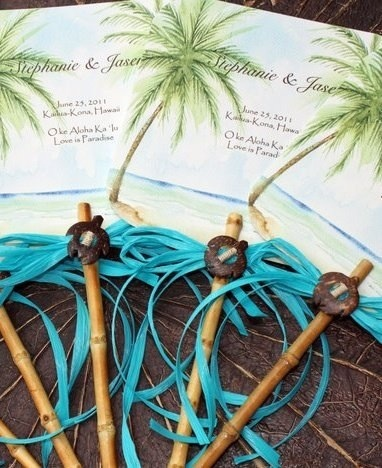 """Custom fans with handmade bamboo handles. Perfect for announcements, programs, or invitations. Card stock measures 6""""x 6"""". Bamboo handle measures 7"""" . Please email your custom text to lenila@designsbylenila.com."""