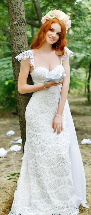 crochet wedding dress by Anna Radaeva                                                                                                                                                                                 More