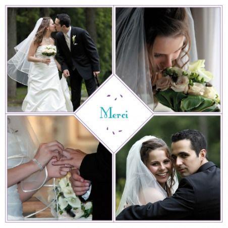 carte de remerciement mariage bouquet 4 photos by Marion Bizet pour www.fairepart.fr #bouquet #merci #mariage