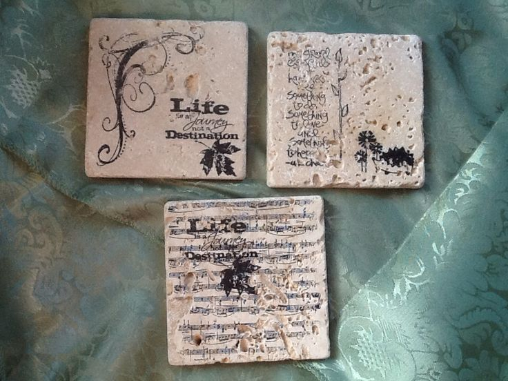 Coasters stamped on Travertine tiles