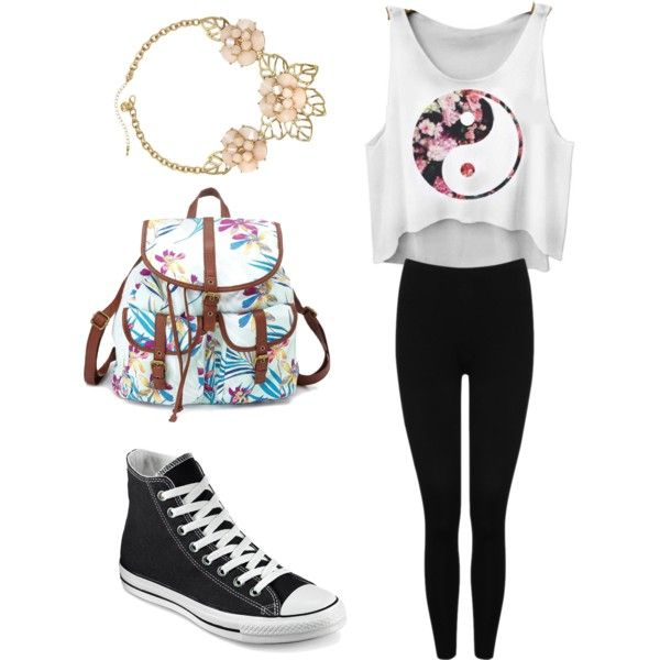 Back to school by gracerankcom on Polyvore featuring polyvore fashion style M&Co Converse Charlotte Russe Gemma Simone
