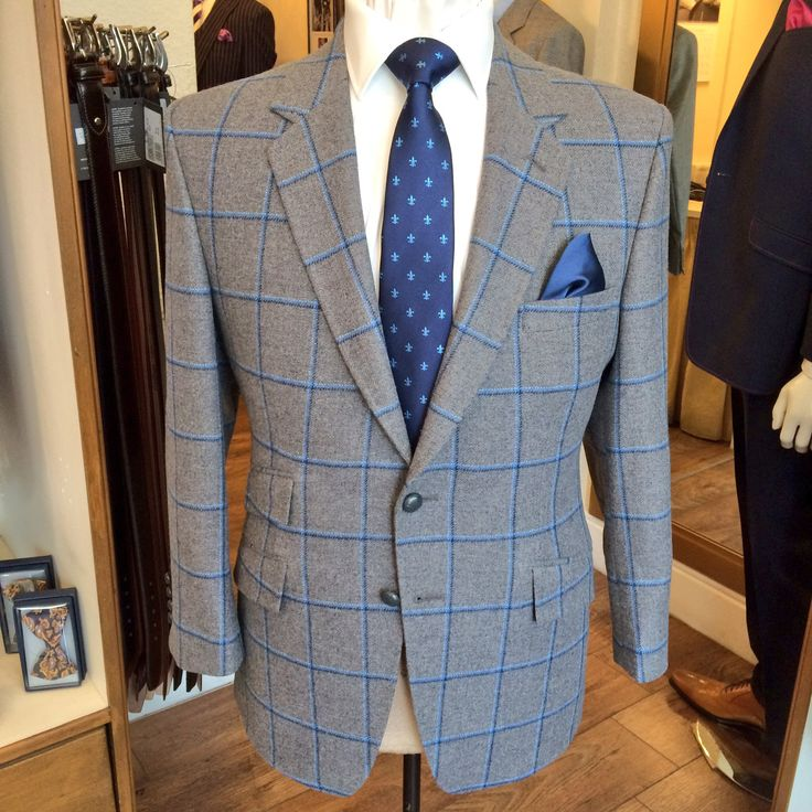 Just finished this grey with 3 shades of blue windowpane