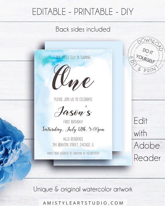 Watercolor 1st Boy Birthday Invitation, on a pure and minimalist hand-painted blue watercolor background in modern and shic style.This nice boy birthday invitation template is an instant download EDITABLE PDF so you can download it right away, DIY edit and print it at home or at your local copy shop by Amistyle Art Studio on Etsy