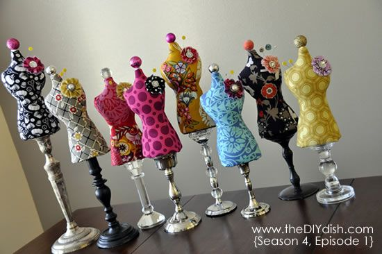 """The DIY Dish... """"How to Make a Dress Form Mannequin Pin Cushion"""""""