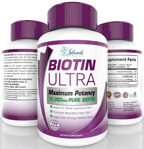 Biotin (Highest Potency) 10,000mcg Supplement For Hair Growth Pure Maximum Strength Best B Vitamin Pills For Hair Loss And Strong Healthy Nails - 120 Capsules Backed By Our 100% Satisfaction Guarantee!