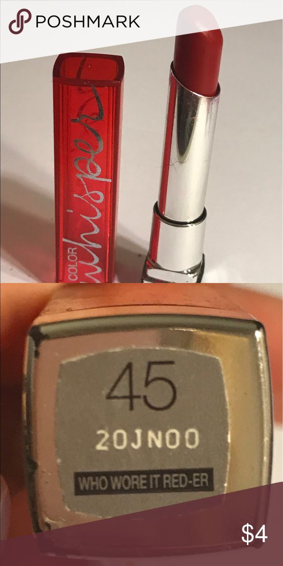 Maybelline color whisper lipstick Maybelline color whisper lipstick in color 45 who wore it red-er!! Thanks for checking out Luxury1cosmetics!! Offers are welcomed, bundles are discounted. Maybelline Makeup Lipstick