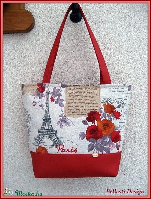 Párizs mintás nagy pakolós táska - piros (BellestiDesign) - Meska.hu   #handmade #női #egyedi #divat #táska #design #bellestidesign #woman #fashion #bag #red #paris #párizs #eiffel #rose #rózsa #bags