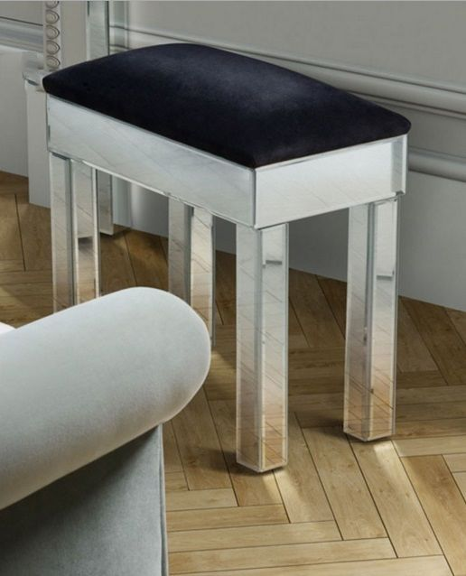 modern dressing table stool silver black ottoman venetian glass vanity chair vtg