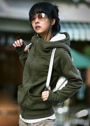 Woman's Casual Cotton Zipper Pocket Design Hooded Sweatshirt – teeteecee - fashion in style