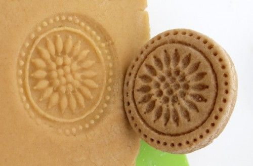 1 of 2. .How to make stamps for adding images to sugar cookies or shortbread cookies - and she used all things that you probably have on hand already!  This is a great project for kids, who can create their own stamps easily - even this super fancy stamp was simple enough for just about anyone to make.   Project estimate:      Salt dough, on hand     Carving tools, on hand     Glue, on hand