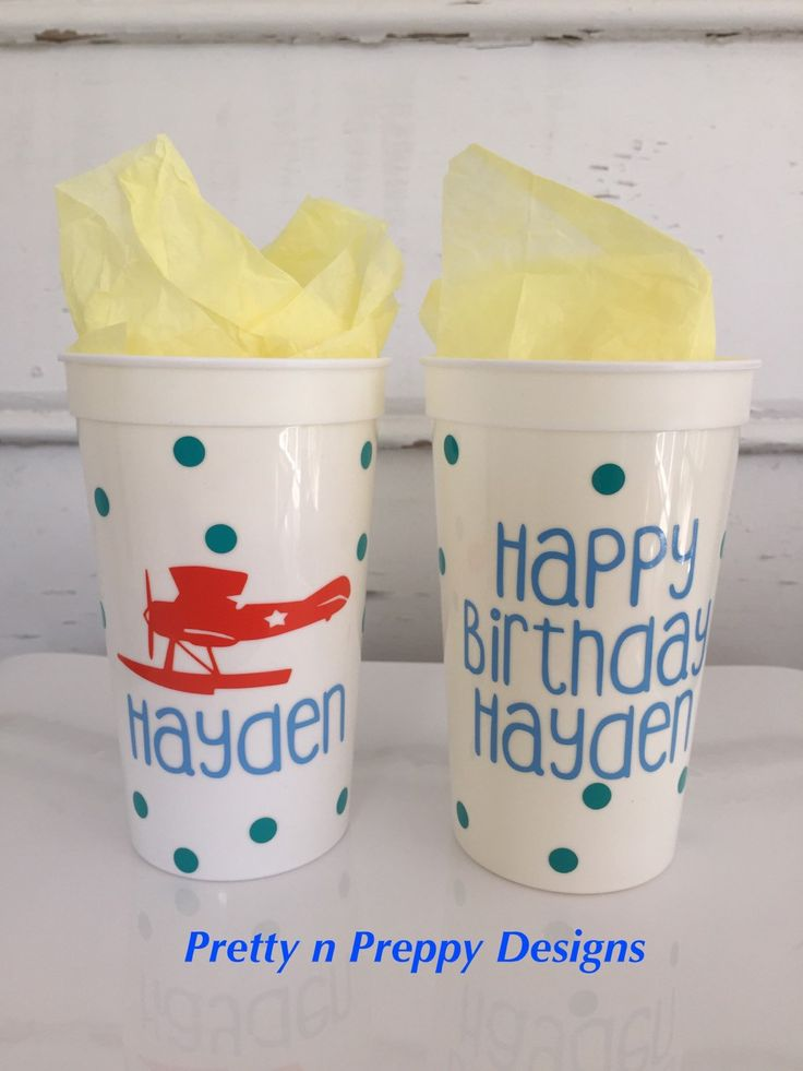 Come Fly With Me Airplane Party Cups, Vintage Airplane Birthday Theme by PrettynPreppyDesigns on Etsy