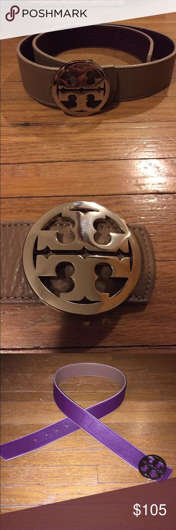 Tory Burch 2-toned purple/tan belt NWOT Sz Small Reversible - purple and tan. New without tags, never worn. NO NEGOTIATIONS OR TRADES. Silver buckle. Tory Burch Accessories Belts