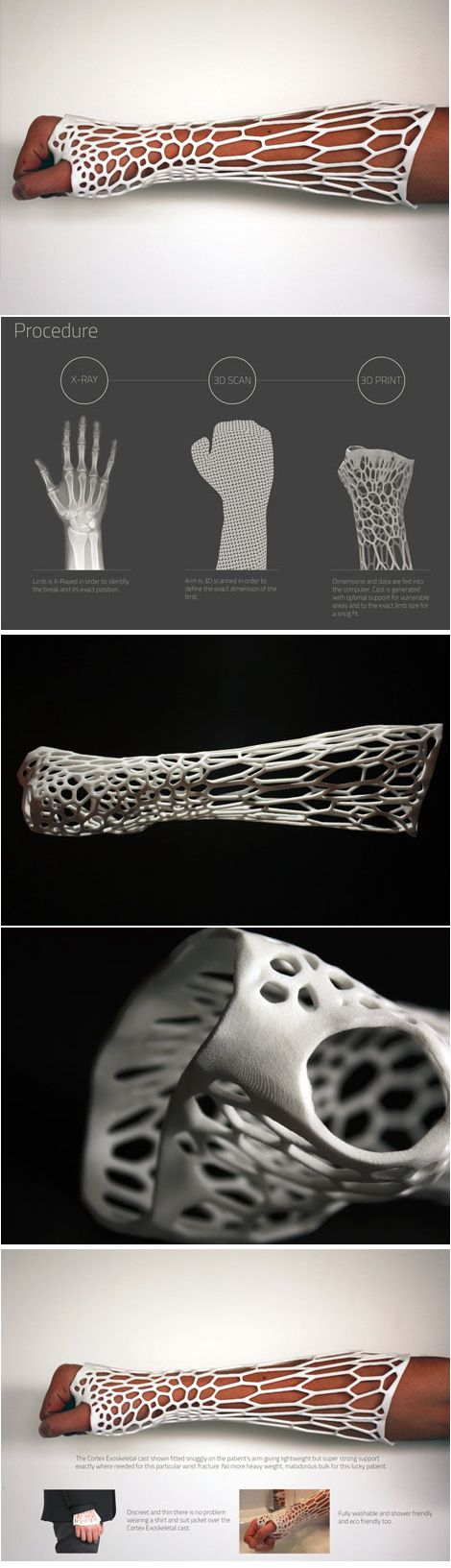 """3D-Printed Cortex Exoskeleton. Fun fact our """"Squawk Alley"""" on set logo is 3D printed by printer Shapeways"""