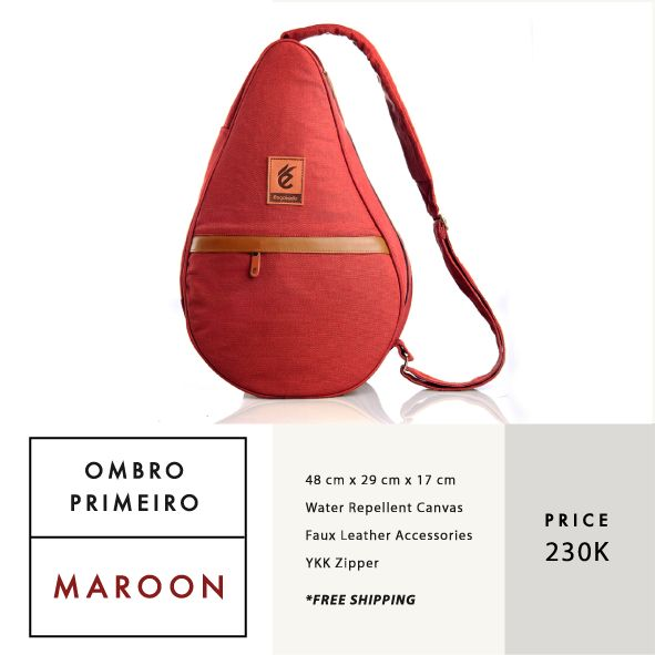 OMBRO PRIMEIRO MAROON  IDR 230.000  FREE SHIPPING ALL OVER INDONESIA    Dimension: 48 cm x 29 cm x 17 cm 23 Litre   Material: High Quality Canvas WR Faux Leather Accessories Leather Accessories YKK Zipper  #GoodChoiceforGoodLooking