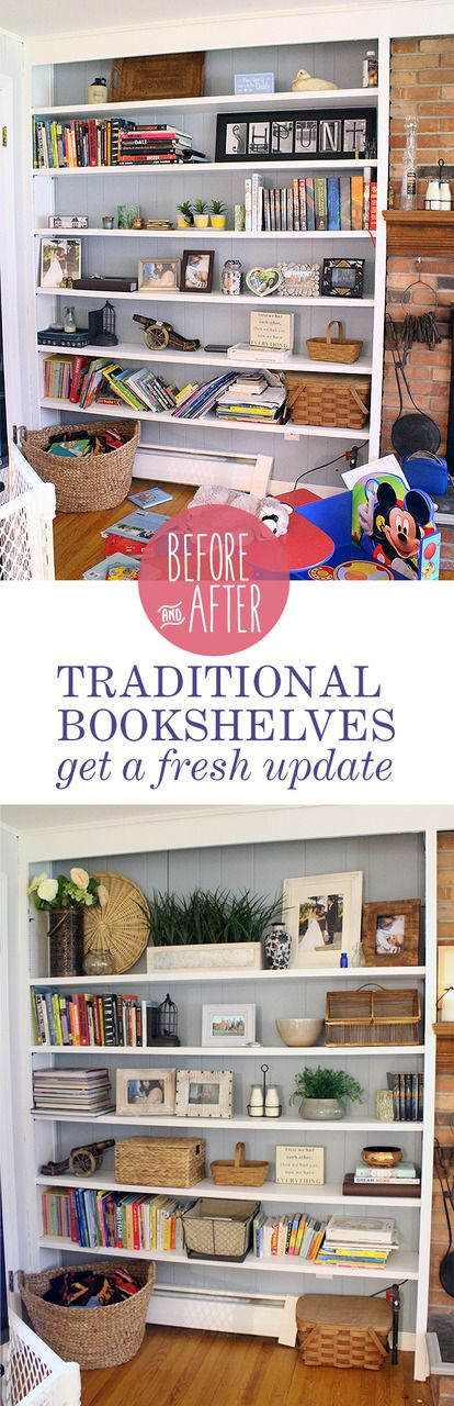 Before and After: Traditional bookshelves get a fresh update http://www.indigoandhoney.com/traditional-bookshelves-get-fresh-update/